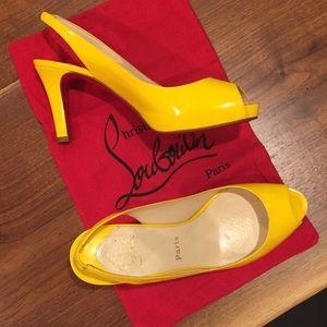 Louboutin N Prive Slingback Pumps Yellow